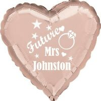"""Rose Gold heart 18"""" Foil Balloon Gift Team Bride to be / Hen Do PERSONALISED"""