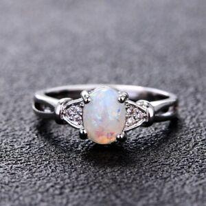 Luxury 925 Silver Oval White Fire Opal Gemstone Wedding Women Engagement Rings!!