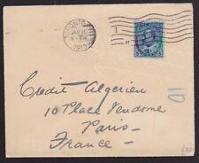 Canada 1910 capot de Toronto à Paris France King Edward VII 5 Cents définitif