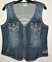 "Harley-Davidson Women's Denim Vest Full Zip Studded Bling Logo 38"" Bust Stitched"