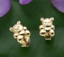 Children Earrings Studs Teddy Bear Real Gold 333 Studs 8KT Bear Yellow Gold