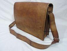 """16x12"""" Vintage Leather Padded Messenger Bag Laptop Macbook Satchel Crossbody Bag"""