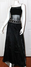 Black Sheer Mesh Silver Sequin Beaded Maxi Evening Dress Fredericks of Hollywood