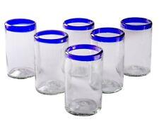 Orion Mexican Glassware Blue Rim 16 oz Tumbler - Set of 6