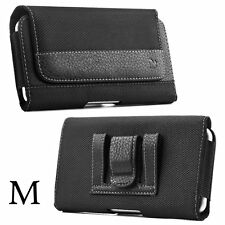 for iPhone 6 / 7 / 8 -HORIZONTAL BLACK Suede Pouch Holder Belt Clip Holster Case