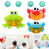 Plastic Cartoon Crab Frog Bubble Machine Music Bubble Maker Baby Bath Play Toy