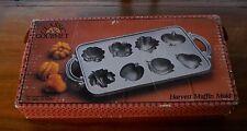 Classic Gourmet Heavy Case Iron John Wright Harvest Muffin Mold & Recipe Foldout