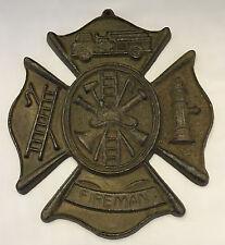 """Fireman Firefighter Maltese Cross Wall Plaque, Cast Iron, 9"""" Long x 7-7/8"""" Wide"""