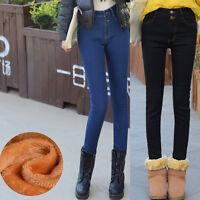 Women's Casual Fleece Jeans Stretch Skinny Flannel Denim Trousers Pencil Pants