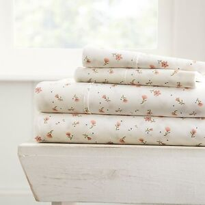 Hotel Luxury Soft Floral Pattern 4 Piece Bed Sheet Set by Home Collection