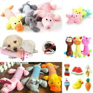 Pet Dog Soft Chew Toy Puppy Doggy Plush Sound Eggplant Carrot Squeaker Toys UK