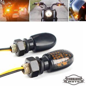 Motorcycle Mini LED Turn Signal Indicators Amber Lights Blinker For Harley Dyna