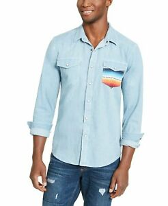 American Rag Mens Shirt Blue Size Small S Western Button Front Leon $45 514