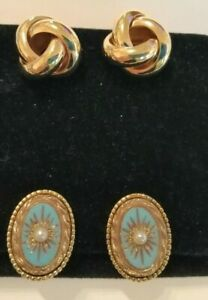 Pair of Sphinx gilt metal earrings & a pair of large Monet gold tone knot (clip)