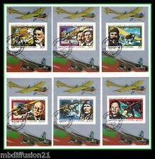 1978 - COMORES - HISTOIRE DE L'AVIATION - PILOTES - 6 BLOC-TIMBRES OBL