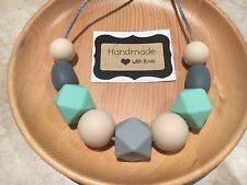 Silicone Sensory (was teething) Necklace for Mum Beads Mint Aus Gift On Sale