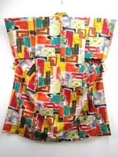 C3-4843a700 Silk Vintage Japanese Kimono Robe Dress Red Green Antique Meisen