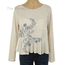 LAUREN CONRAD Medium BEIGE TOP with BLUE Embroidered FLOWERS Peplum Hem KEYHOLE