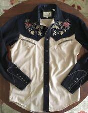 ROPER Vintage Western Shirt Snap Front Black/Tan Embroidered