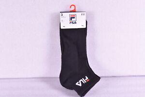 Men's Fila Heritage Quarter Ankle Socks Aerated Mesh Body - Black - 3 Pack
