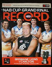 2007 NAB Cup Grand Final Brisbane vs Carlton Football Record unmarked