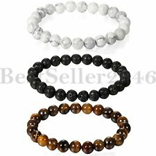 3pcs Damen Herren Lava Rock Handmade Tiger Eye Stein 8mm Perlen Buddha Armband