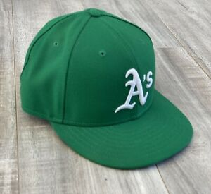 Oakland Athletics 7 3/8 New Era Fitted Hat MLB Cap MADE IN USA NE Flag Removed
