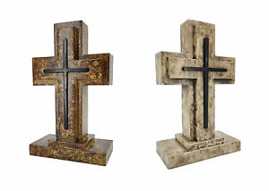 "Wooden Pedestal Rugged Cross Metal Decor 5. 5WX3DX9""H Rustic Christian Cross"