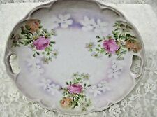 Vintage Pink Roses Dessert Serving Plate 9 inch Iridescent with open handles