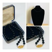 Vintage Necklace French Jet Collar Length Gold Tone Box Clasp Elegant Costume