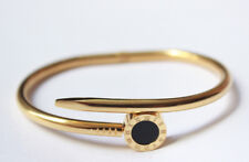 """Men Stainless Steel Gold Round Nail Bangle Bracelet Jewelry Gift Present 6.5"""""""