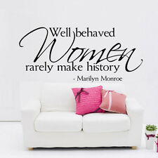 MARILYN MONROE Quote Vinyl Wall Decal WELL BEHAVED WOMEN Vinyl Sticker Decor