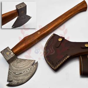 Hand Forged Handmade Damascus Steel Blade Knife Hatchet AXE walnut Wood916
