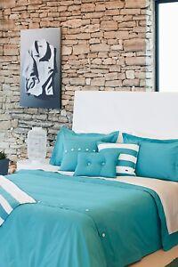 $265 NIP LACOSTE 3p Duvet Sham Set Brushed Twill Stillwater Full Queen BLUE NEW