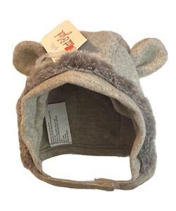 Cat & Jack Baby Heather Oatmeal Teddy Bear Ear Hat Under Strap Size 0-6 Months