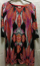 Chico's Womens Ikat Print Jersey Stretch Sheath Shift Long Sleeves Dress 1 M 8