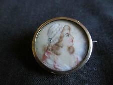 ancienne miniature de demoiselle peinte broche fin XVIII ème ou XIX ème