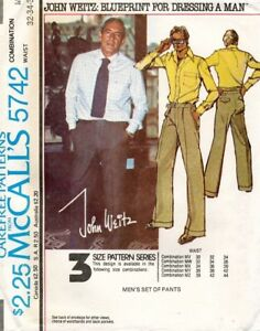 1970's VTG McCall's Men's Pants John Weitz Pattern 5742 Size 32-36 UNCUT