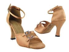 Women's 1620 Brown Satin Ballroom Salsa Mambo Latin Dance Shoes heel 3 Size 5.5