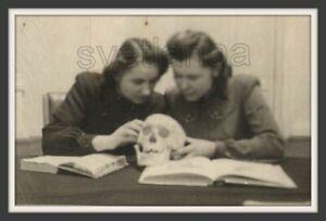 Medical School students Anatomy Skull POST MORTEM Unusual Soviet vintage photo