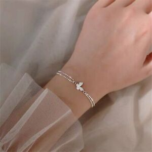 925 Silver Zircon Crystal Butterfly Bracelet Women 2 Layers Chain Bangle Jewelry
