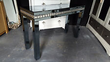 Mirrored Crystal Smoked / Grey Dressing Table with Drawer
