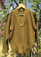 Vintage 1940's WWII US Army Military V Neck Heavy Wool Uniform Sweater. Rare.
