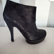 MODERN VINTAGE ankle  boots  SHOES BOOTS heel  SZ 37.5,LEATHER suede  black  F