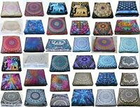 "35"" Square Mandala Floor Pillow Room Decorative Pouf Ottoman Puff Cushion Cover"