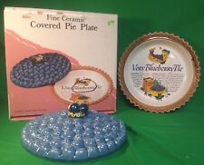 Fine Ceramic Blueberry Pie Plate w/ Recipe & Original Box HOLIDAYS