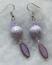 LILAC PORCELAIN AND LILAC OPAL GLASS SPINDLE  EARRINGS