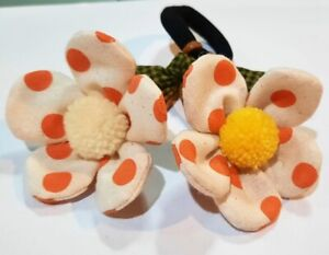 Hair Bands Tie White&Orange Flowers Thai Crafts Seeds Handmade Sewn Fabric New