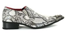 Men`s Shoes Black Leather Retro Vintage Snake Skin Lined Metal Pointed  wedding