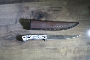 Custom Made Damascus Steel Fillet Fishing Knife & leather sheath ceramic handle